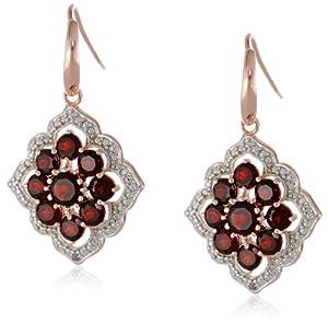 18k Rose Gold Plated Sterling Silver Two-Tone Genuine Garnet Cluster Dangle Earrings