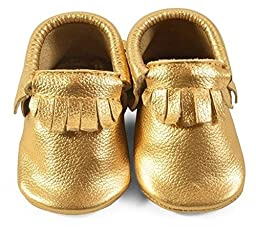 Baby Moccasins, The Coral Pear Classic Moccasin, Genuine Leather Shoes for Babies & Toddlers, Gold, Size 1M (Babies & Toddlers)