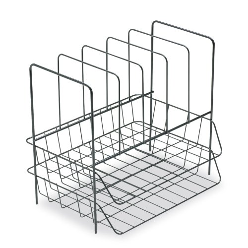 Fellowes Side Load Double Tray with 5 Section Sorter, Wire, Letter Size, Black (72371) (Letter Tray Wire compare prices)