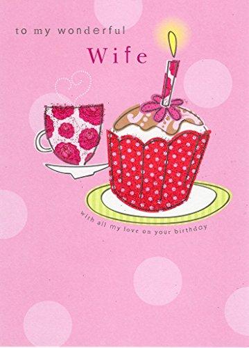 Wonderful Wife Second Nature-Biglietto di auguri di compleanno biglietti Flittered Glitter