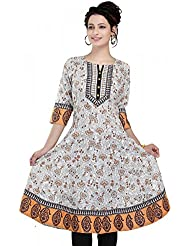 Meher Impex Offwhite 3/4th Sleeves Long Anarkali Style Cotton Kurti