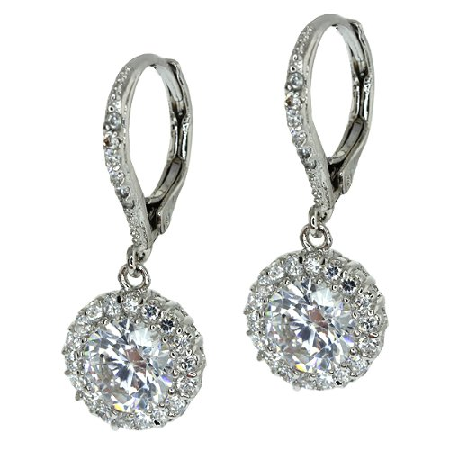 2.50 Ct Stunning Round White Cubic Zirconia CZ Earrings 1 Inch