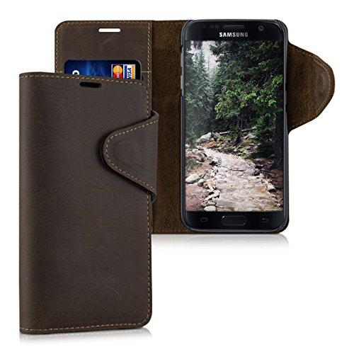 kalibri-Echtleder-Wallet-Hlle-fr-Samsung-Galaxy-S7-Case-mit-Fach-und-Stnder-in-Braun