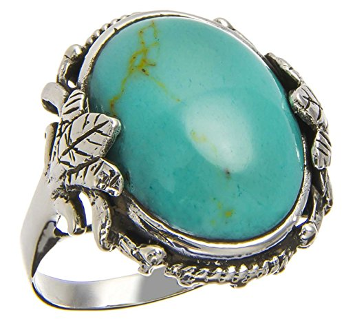 25Mm Southwest Vintage Luxury Antique Round Cut Sleeping Beauty Blue Sky Turquoise Navajo Arizona Spirit Inspired - Sterling Silver Ring Size 6-10 (10)