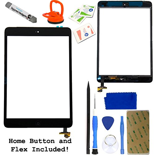 Black Touch Screen Glass Digitizer Assembly With Spare Parts (Home Button, Flex Cable, Camera Bracket, Adhesive) For Ipad Mini