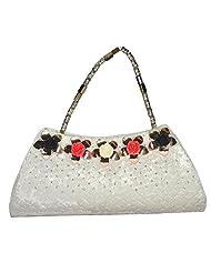 Arisha Kreation Co Women Hand Made Hand Bag Clutch (White)