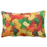 "Gummy Bear Rainbow Colored Candy Pillow 50% cotton 50% polyester 20""x 30"" inches Pillowcase"
