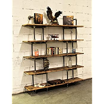 """Furniture Pipeline Industrial Wall Mounted Large Storage 5 Shelf Bookcase, Metal and Reclaimed Aged Wood Finish, 71"""" H"""