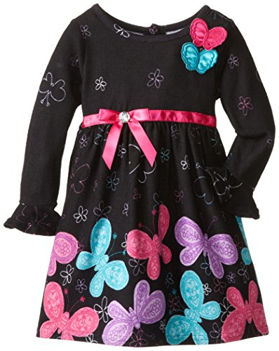 Youngland Little Girls' Butterfly Print Sweater Dress, Black/Multi, 2T