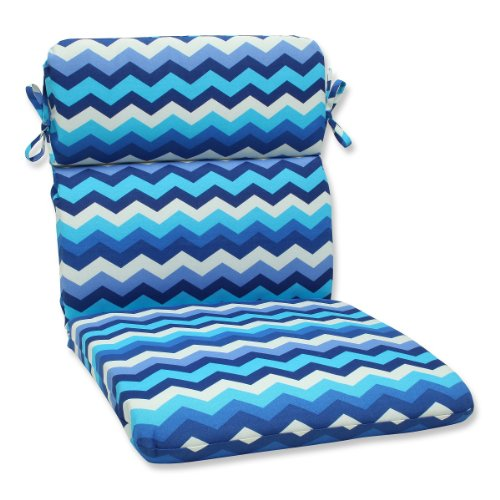 """40.5"""" Rayas Azules Blue, Navy and White Chevron Striped Outdoor Patio Rounded Chair Cushion"""