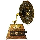 "Saaga Mini Model Square Gramophone With Brass Inlay Work (5X5""X10"",Brown & Gold)"
