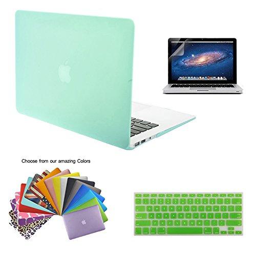 TECOOL® 3 in 1 Ultra Slim Multi Color Plastica Hard Case Cover Notebook Laptop Case, Verde Chiaro US versione tastiera cover, Versione Europea di il Trasparente Tastiera Cover e Schermo Protezione per MacBook Air 13