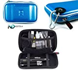 Electronic Cigarette Carrying Travel Hard Candy Case with Carabiner Style Hook for your keys by Kroo - Candy Blue EVA + Complimentary NextDia ™ Velcro Cable Strap.