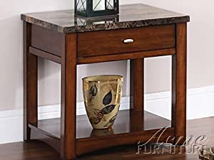 Perfect Acme Jas Faux Marble Lift Top End Table Cherry Finish Marble Top Coffee Table Set
