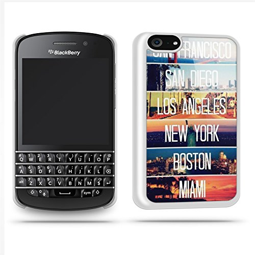 Us Cities New York Miami Los Angeles Phone Case Shell For Blackberry Q10 - White