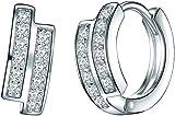 Rafaela Donata - Aros con cierre - 925 Plata esterlina, Aros con cierre con Zirconia, Pendientes, Pendientes de Plata esterlina, Joyería de plata, Joyas con Zirconia - 60837073