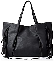 LuLu Fringe Detail Shoulder Bag, Black, One Size