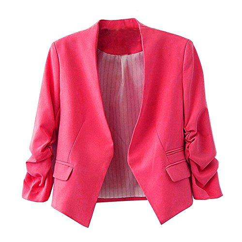 Damen Blazer kurz Jacke Modern Anzug Ohne Verschluß DR221 Pink Gr.L/EUR40
