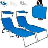 TecTake Chaise Longue Pliante Bain de Soleil avec Parasol Pare Soleil - diverses couleurs au choix - (2x Bleu)