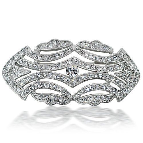Bling Jewelry Art Deco Vintage CZ Wedding Brooch