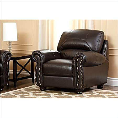 Abbyson Living Berneen Leather Armchair in Dark Truffle