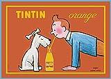 World of Art Affiche publicitaire vintage Motif Tintin et Milou Orange brillant Format A3 250 g/m²...