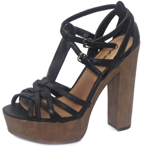 Qupid Gossip-05 Black Strappy Thick Stiletto Sandals, Size: 10 (M) US [Apparel]