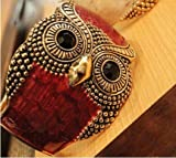 Hotportgift Fashion Women's Metal Enamel Retro Tone Owl Open Hand Bangle Bracelet Cuff Gift red
