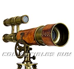 Victorian Marine Desktop decorative Brass & Leather tripod telescope vintage Sea nautical gifts