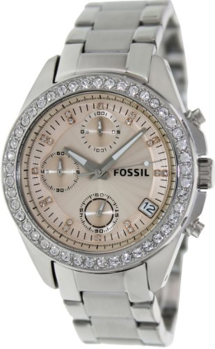 Fossil Women's Decker ES3379 Silver Stainless-Steel Quartz Watch with Rose-Gold Dial