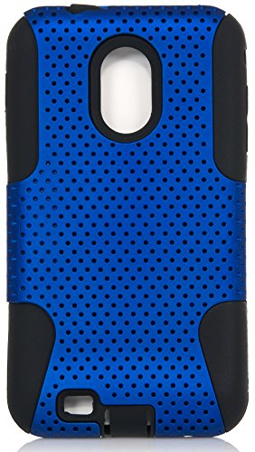 Galaxy S2 Case, iSee Case (TM) Hybrid Dual Layer Perforated Mesh Protective Cover Case for Samsung Galaxy S2 Sprint D710 Samsung Epic 4G Touch (D710-Mesh Blue on Black) (Sprint Samsung Galaxy S2 Case compare prices)