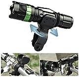 [Wiederaufladbar] SOAIY® Wasserdicht Cree LED Taschenlampe 240 Lumen Aufladbare Lampe Fahrradlampe Handlampe Einstellbarer Fokus inkl. 18650 Batterie, Ladegerät und Fahrrad Halterung geeignet für Camping Notfall Outdoor -