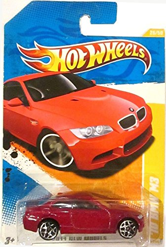 2011 Hot Wheels New Models '10 BMW M3 Red on 2 Car Bands Included Card #26/244