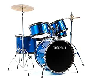new trident drum set 5 pcs complete adult set cymbals full size pearl blue baby. Black Bedroom Furniture Sets. Home Design Ideas