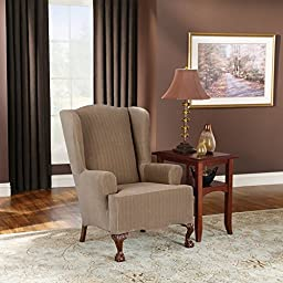 Sure Fit Stretch Pinstripe - Wing Chair Slipcover  - Taupe (SF35821)