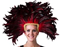 Zucker Feather Mask/Headdress with Coque Feathers, Red by Zucker Feather Products