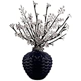 Frosty White Crystal Flower Branch Table Lamp With Beaded Sprays