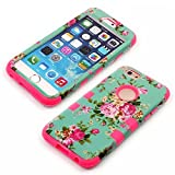 iPhone 6 4.7 Inch Phone Cases, Vogue Shop Beautiful Design 3in1 Hybrid Case Cover for Iphone 6. Peony Flower Hard Cover for iPhone 6 Three Layer Elegant Floral Flower Printed Design Pc+ Silicone Hybrid High Impact Defender Case Combo Hard Soft Cases Covers Scratchproof Dustproof Shockproof Durable Hybrid High Impact Hard Hot Pink Floral in Mint Green Pattern Silicone Armor Case Cover for iPhone 6 (Three Month Warranty) (rose)