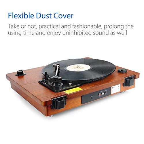 Bluetooth Turntable, Built In Speaker, Vintage Style Record Player, Natural Wood