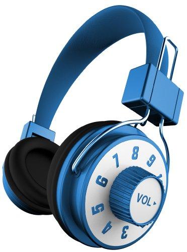 Ihip Ip-Knob-Bl Dj Style Adjustable Volume Control On Headphone With Mic, Blue