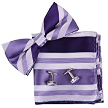 BT2130 Purple Stripes Silk Pre-tied Bowtie Cufflinks Hanky Men Wearing By Epoint