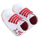waylongplus Lienzo infantil Prewalker suave Suela antideslizante zapatos de cuna I Love Mum Dad Impresión Slip-On Zapatillas blanco roto White Dad Talla:12 (6-12 Months)