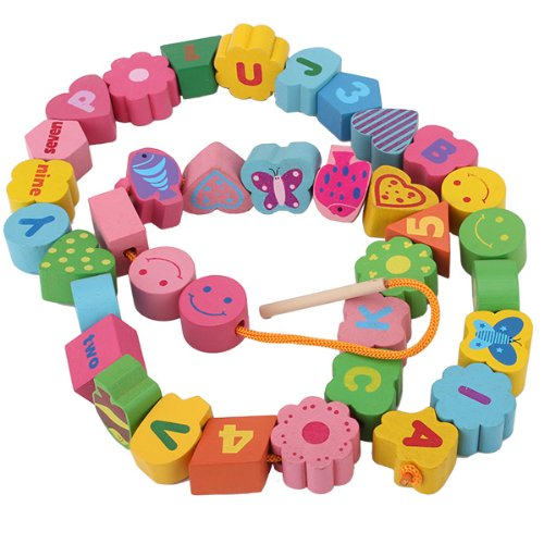 Cute Lovely Educational Kids Numbers Letters Wooden Toy Stringing Beads front-530803