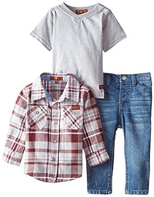 Trendy Baby Boys Flannel Shirt, Slub J-Shirt & Denim Jeans by 7 For All Mankind
