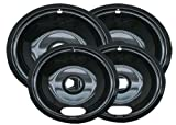 Range Kleen Style A P10124XN Porcelain Drip Pans 2 Nos. 6-Inch. & 2 Nos. 8-Inch. - Black (Set of 4)