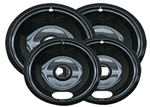 Range Kleen P10124XN Porcelain Universal Drip Pans Set Of 4 Containing 2 Units P101, P102, Black