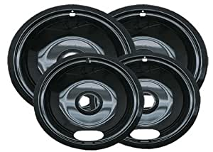 Range Kleen P10124XN Porcelain Universal Drip Pans Set Of 4 Containing 2 Units P101, P102, Black