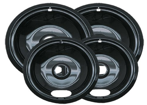 Range Kleen Style A P10124XN Porcelain Drip Pans 2 Nos. 6-Inch. & 2 Nos. 8-Inch. - Black (Set of 4) (Stove Burner Electric compare prices)