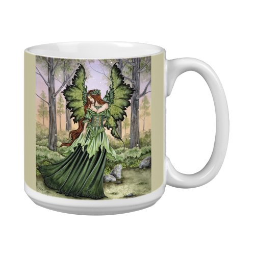 Tree-Free Greetings Xm27558 Amy Brown Artful Jumbo Mug, 20-Ounce, Fantasy Lady Of The Forest Fairy