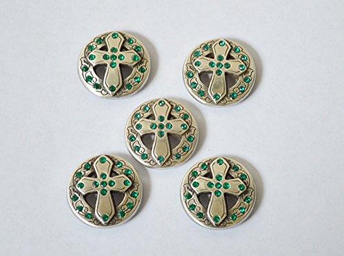 5 Enmon Rhinestone Cross Concho Leather Green Tack Western Round Silver Belt
